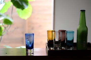 沖縄の琉球ガラス 「一口ビアグラス」