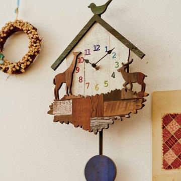 小鳥、キリン、鹿の振子時計