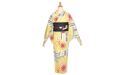 ツモリチサト女性浴衣セット「縞に菊」注染 ブランド浴衣セット プレタ浴衣セット