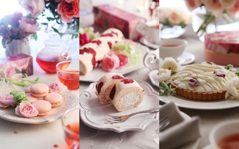 「ヒビヤカダンスイーツ」朝摘みローズコレクション。左より『花咲くローズマカロン』、『花咲くローズロール』、『花咲くローズチーズタルト』。一番人気は、バラが香るクリームを巻くスポンジに、深紅の花びらをちりばめたローズロール。