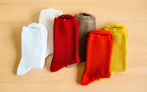 ひとつの型で、何色ものカラーバリエーションがあるタビオの靴下。「いろいろなコーディネイトが楽しめるように『靴下屋』が誕生した30年前から、定番商品は30色展開していました」と、商品部・佐藤さん。2×2リブクルーソックス ¥500(税抜)