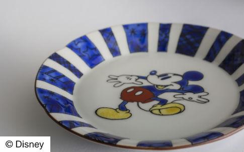 九谷焼 花形中皿 ミッキーマウス (BL)