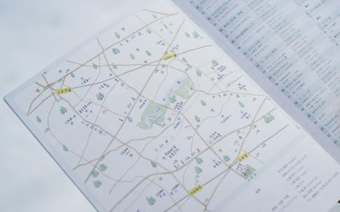 フリーペーパー『井』にある、石神井公園周辺の地図。黄色で塗られた駅の周辺までのエリアをカバーする。
